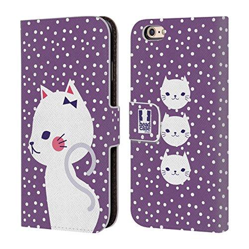 Case+Tempered_Glass Schutzhülle aus PU-Leder mit Kreditkartenfächern für Apple iPhone XR Geldbörse/Clutch/Pouch mit Tablett - Weiße Katze in Violett