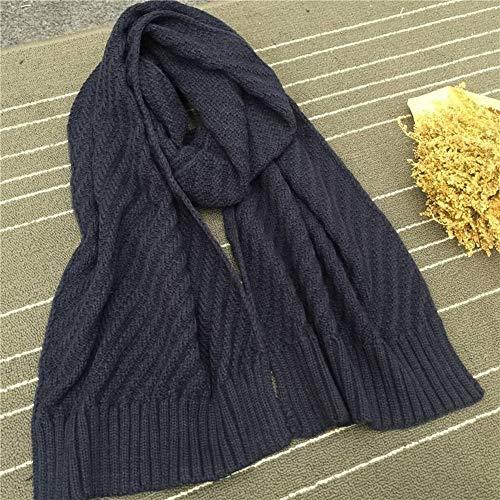 IBUP Unisex Japan und Südkorea süße Pastorale Krawatten-Dye dreidimensionale diagonale Streifen Wollkragen Reine Farbe verstärken Strick Warm Schal Herren und Damen, Marineblau 200 x 36 cm - Blau Diagonale Streifen-krawatte
