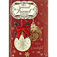 """Friend Christmas Card - Traditional Xmas Baubles & Gold Snowflakes 9.75"""" x 6.75"""""""