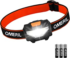 OMERIL LED Head Torch, Lightweight COB Headlamp with 3 Modes, IPX4 Waterproof, Super Bright 150 Lumens LED Headlight for...