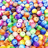 Toy - ca. 200 Stück Multicolour gestreiften Acryl Perlen Spacer Beads 6 mm