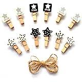 LWR CRAFTS Mini pinces à linge en bois étoiles 24 pièces et cordon de jute 20 cm
