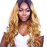 Eseewigs #1b/#27 Honig Blonde Ombre Farbe Lace Front Perücken Brasilianisches Remy-Menschenhaar mit Baby-Haar-Körper-Welle vorgezupft natürlicher Haaransatz für Frauen 22inch