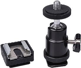 SHOPEE BRANDED Camera Tripod LED Light Flash Bracket Camera Holder Mount 1/4 Hot Shoe Adapter Cradle Ball Head ( with cold shoe)