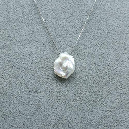 Natürliche Süßwasser Barocke Perle Halskette, 14-16mm, 925 Sterling Silber Perle Schmuck Für Frauen Geschenke