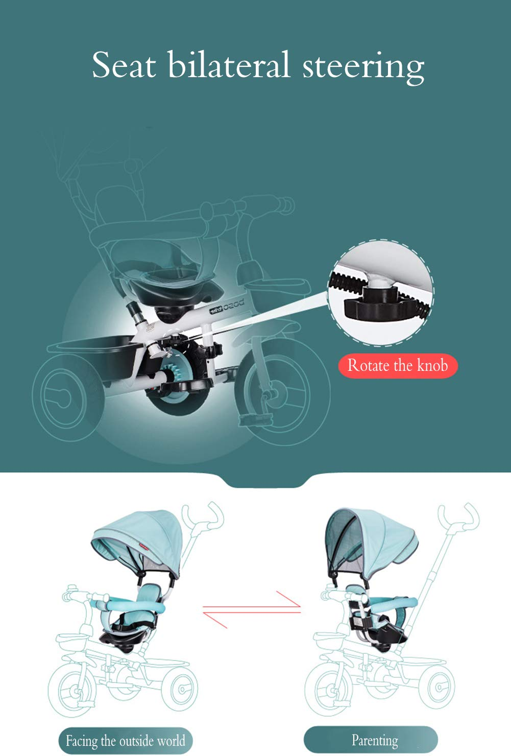 Children's Tricycle, Double-Sided Seat Stroller Adjustable Sun Visor Enlarged Storage Box Folding Pedal 3 to 6 Years Old Baby Indoor YYY ✅ 4-in-1 multi-function: two-way steering seat with push button unit. Push-pull, personalized putter multi-range adjustment putter to meet children of different heights, as the child grows, the tricycle can be adjusted to the fourth level. ✅ Durable material: This thrust tricycle is made of gem steel + environmentally friendly titanium empty wheel, with excellent strength, light resistance and anti-flaking adjustable awning. The tarpaulin material has a waterproof layer that blocks harmful ultraviolet rays, has a good sunscreen effect, and has mesh ventilation. ✅Safe design: The front wheel clutch has a two-stroke system. The steering linkage and quiet design effectively control the noise problems that may occur during implementation. Seat belt and guardrail and guardrail with double fixing pad 3