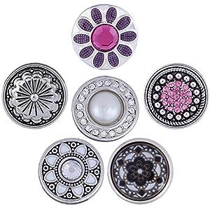 Morella Damen Click Button Set 6 Stück Druckknöpfe Blumenzauber silber rosa