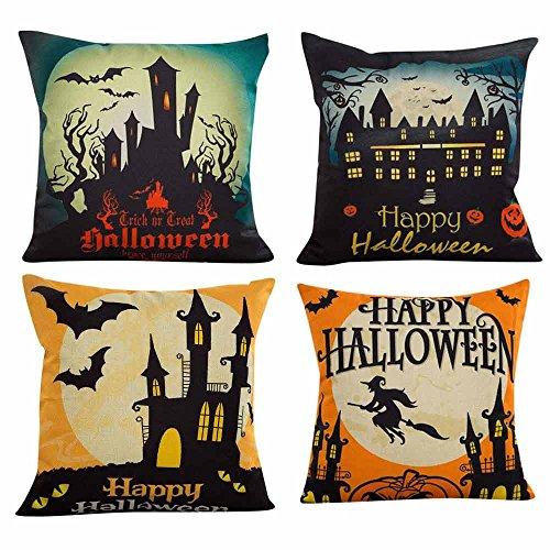 Aiserkly 4PC Happy Halloween Kissenbezüge Leinen Sofa Kissenbezug Home Decor
