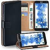 OneFlow Tasche für LG Optimus L9 II Hülle Cover mit Kartenfächern | Flip Case Etui Handyhülle zum Aufklappen | Handytasche Schutzhülle Zubehör Handy Schutz Bumper in Schwarz