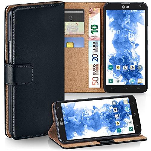 LG D605 Optimus L9 II Hülle Schwarz mit Karten-Fach [OneFlow 360° Book Klapp-Hülle] Handytasche Kunst-Leder Handyhülle für LG Optimus L9 2 Case Flip Cover Schutzhülle Tasche