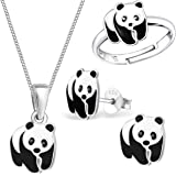 Kids Panda - Juego de pendientes y collar para niña, plata de ley 925, diseño de oso panda