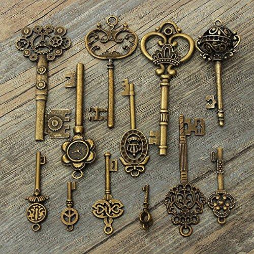 KING DO WAY 12pcs Bronzo Antique Vintage chiave dei pendenti Skeleton Key Steampunk Fascino decorativo