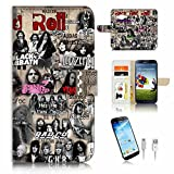 ( For Samsung J3 2016 ) Flip Wallet Case Cover & Screen Protector & Charging Cable Bundle! A6165 Rock And Roll