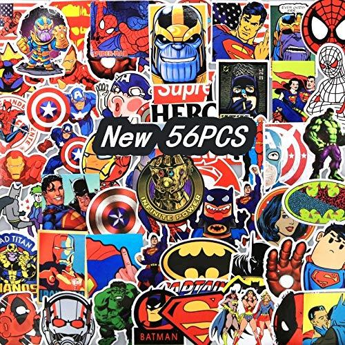 Inveroo 56 STK Super Hero Thanos Handschuh Aufkleber Batman Cartoon Aufkleber Für Kinder Kinder Gepäck Notebook Laptop Aufkleber Geschenk (Gepäck Kinder Batman)