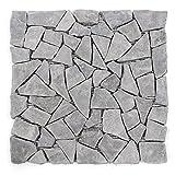Divero 11 Matten 30 x 30cm Marmor Naturstein-Mosaik Fliesen für Wand Boden Bruchstein grau