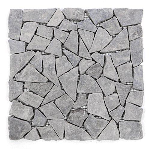 Getrommelt Marmor Mosaik 1x1 (DIVERO 11 Matten 30 x 30cm Marmor Naturstein-Mosaik Fliesen für Wand Boden Bruchstein grau)