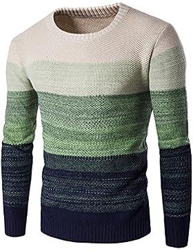 Jerséis Suéter Casual para Hombre de Manga Larga - Verde M