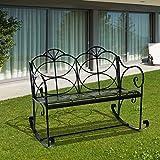 Outsunny Banc Fauteuil à Bascule de Jardin Terrasse 2 Places en Fer Forgé 114L x 76l x 92Hcm Noir Neuf 79...