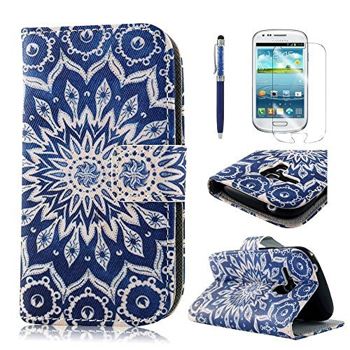 PhoneCase Blume Kreis Muster PU Leder Wallet Schutzhülle mit Display Schutzfolie für Samsung Galaxy S3 mini inkl. Stylus Stift dunkelblau (Samsung S3 Mini Handy-fällen)