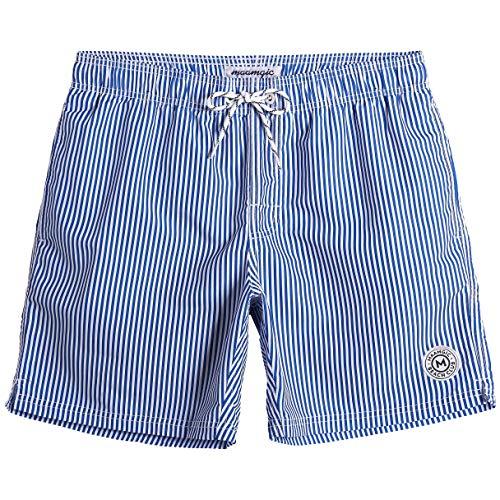 MaaMgic Homme Short de Bains Imprimé Séchage Rapide avec Slip en Filet Maillot de Bain Pants Court de Sport pour Vacance a la Plage, Bleu, Large(tour de taille:86~92cm)