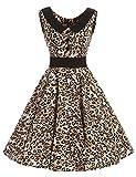 VKStar® Retro Kleider Damen 50er 60er Vintage Kleider Sommer ärmellos Rockabilly Abendkleid Leopard S