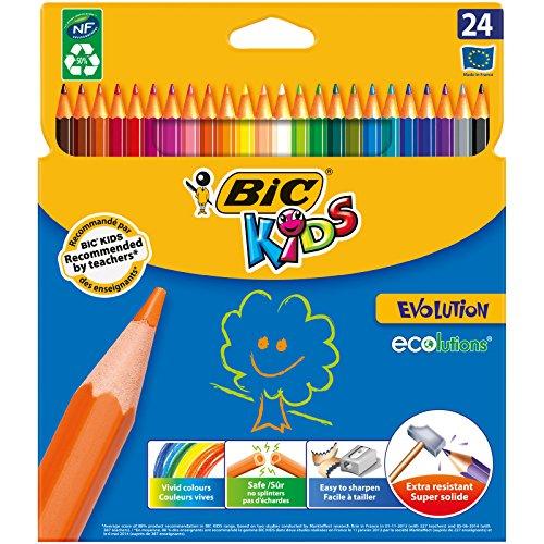 Bic - Ecolution Kids Evolution Etui carton de 24 Crayons de couleu
