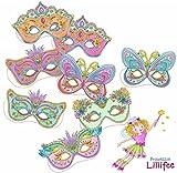 8 Masken * PRINZESSIN LILLIFEE * für Kindergeburtstag und Mottoparty // Mask Deko Verkleidung Kostüme Kinder Geburtstag Princess Pink Rosa Mädchen