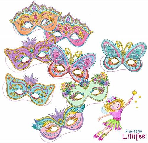 Lillifee Kostüm Prinzessin - Prinzessin Lillifee 8 Masken Kindergeburtstag und Mottoparty // Mask Deko Verkleidung Kostüme Kinder Geburtstag Princess Pink Rosa Mädchen