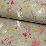 Stoffe Werning Steppjersey Farbkleckse pink Steppstoff -