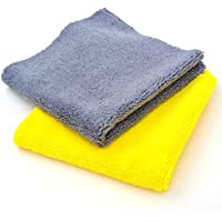 KRAVETTO® 340 GSM Microfiber Cloth | 2 pcs | 40x40 cms | Multicolor | Thick Lint & Streak-Free | Highly Absorbent…