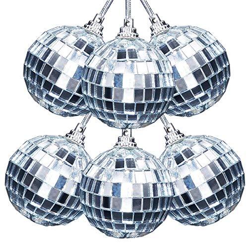 Asdomo Reflektierende Spiegel-Discokugeln, 24 Stück, 5,1 cm, Christbaumkugeln zum Aufhängen, für Urlaub, Hochzeit, Party, Tanz und Musikfeste, Dekoration