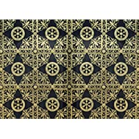 2 Decorative Wooden Door Printed Wrapping Paper (Choice of 5 Differnet Designs) (Midnight black and gold)