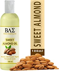 BAE Sweet Almond Oil/Badam Rogan Tel (100ml) - 100% Pure, Cold-Pressed, Organic Almond Oil. Great As Baby Oil- Anti- Wrinkles- Anti-Aging, Carrier Oil for Massage, Aromatherapy & more