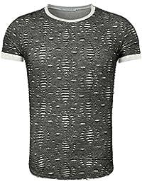 Young and Rich - T shirt homme déchiré T-shirt 1603 gris foncé - Gris