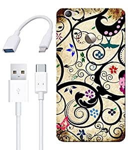 Combo of Floral Art HD UV Printed Mobile Back Cover, Charging Cable and OTG Cable For Letv Le 1S