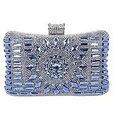 Handtasche Umhängetasche Damen Clutch Abendtasche mit Kette Damen Satin Strass , Blau