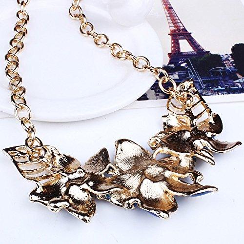 DOLDOA Halskette Frauen Elegante Vintage Blumen Halskette Anweisung Ohrringe Schmuck-Set (Lila)