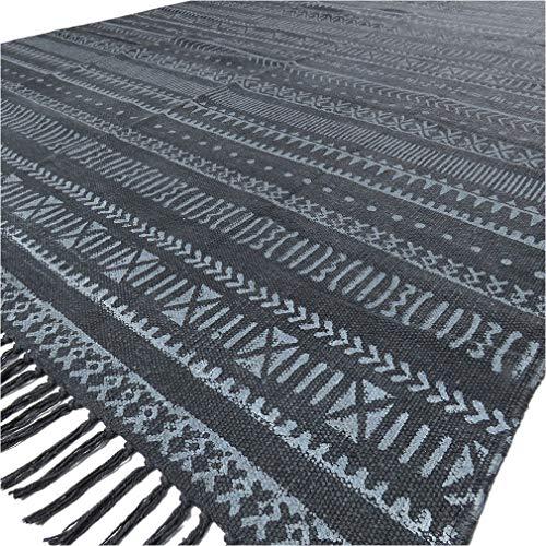 Eyes of India - 4 X 6 ft Weiß Schwarz Baumwolle Block Druckfläche Akzent Dhurrie Teppich Flach zu Weben Gewebt Boho Unkonventionell - Schwarz, 120 x 180 cm (4 6 Schwarz-teppiche, X)