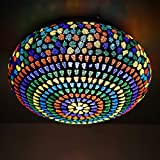 Earthenmetal Handcrafted Mosaic Design Multicoloured Glass Ceiling Light