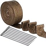 [15m*5cm Hitzeschutzband + 8 Metallstreifen] Heat Wrap bis 1200°Basaltfaser...