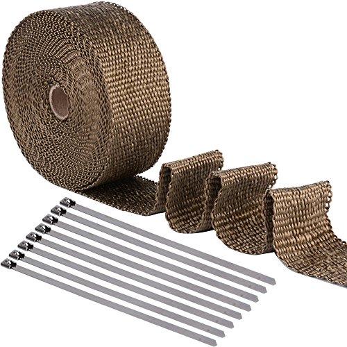 [15m*5cm Hitzeschutzband + 8 Metallstreifen] Heat Wrap bis 1200°Basaltfaser 1.5mm dicht Auspuffband für Fächerkrümmer Thermoband Krümmerband