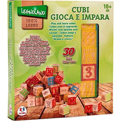 Legnoland - Cubos, Letras, números y símbolos de Madera, 30 Piezas (Globo 37843)