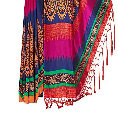 e-VASTRAM Women's Mysore Art Silk Saree with Blouse Piece (NSTASSELMULTI_Multicolour)