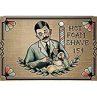 "'""Hot Foam Shave 15C de afeitar, Barber, Peluquería, barschild, spruchschild, Anuncio Vintage"