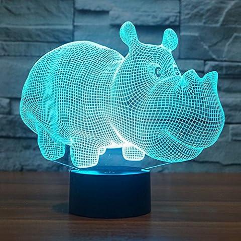 Rinoceronte 3d lámpara LED óptico engaños Luz nocturna, haiyu 7farbwech con acrílico Flat & ABS Base & USB cargador de cambiar toca Botton lámpara de escritorio lámpara de mesa
