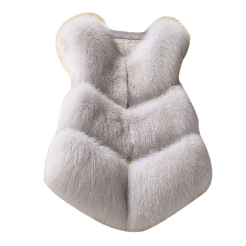 LaoZan Gilet di Pelliccia Ecologica per Festa Wedding Moda Elegante in Inverno - Bianca - 2X Large