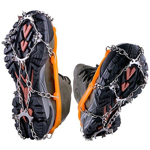 WEYN 8 Dientes Crampones Acero Inoxidable Tacos de Tracción Antideslizante Garras Cadena para Caminar Correr Escalar sobre Nieve o Hielo M (35 40) Naranja