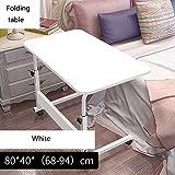 YXX- Holzklapptisch Schreibtisch mit höhenverstellbaren Beinen Holzschlafzimmer Faltbarer quadratischer Computertisch auf Rädern (Farbe : Weiß, größe : 80 * 40cm)