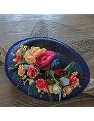 &zhou Tocado novia, red retro azul hilo sombrero, tocado, la primera flor, adornos para el pelo, accesorios de vestido