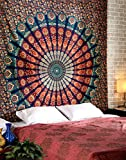 Boho Mandala Wall Hanging Tapestry, Eleoption Decor Tapestries, Peacock Print Painting Tapestry, Cotton Handmade Badsheet Blanket, Bedding Bedspread, Picnic Beach Sheet, Table Cloth, Decorative Wall Hanging, 81x59 Inch - Green-Red